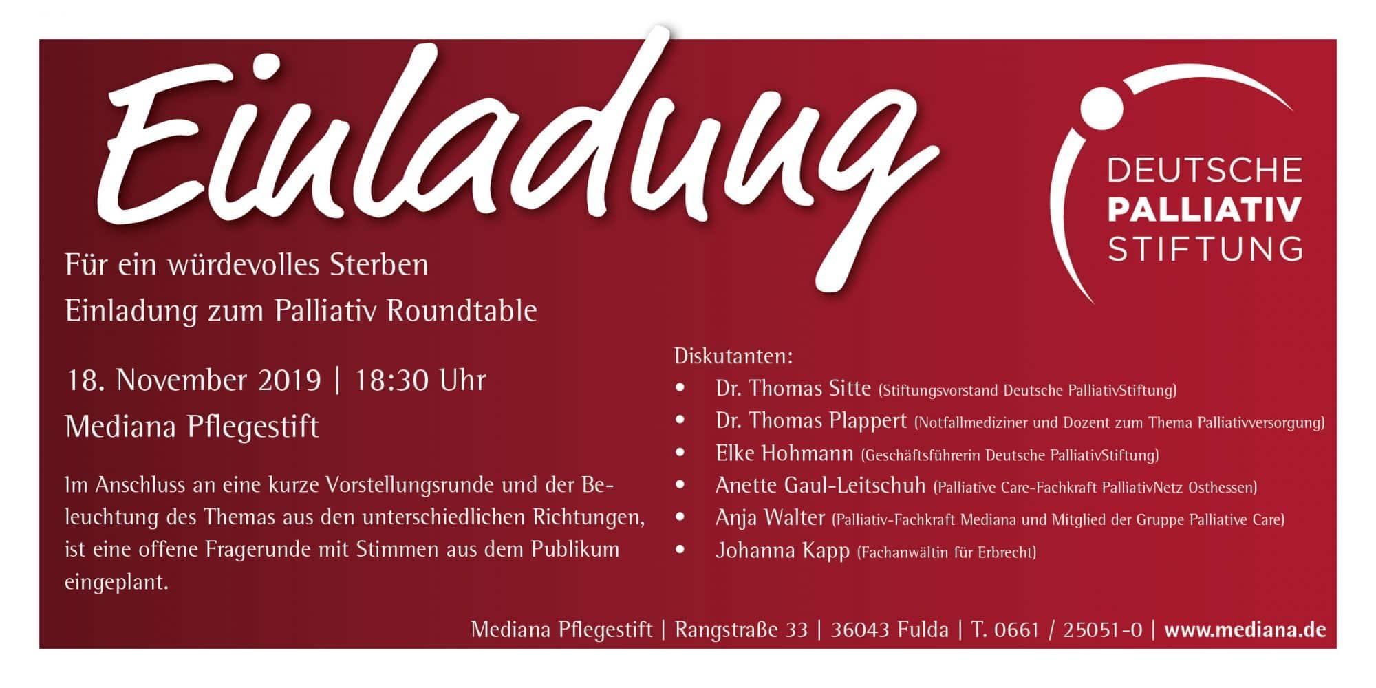 Für ein würdevolles Sterben - Einladung zum Palliativ Roundtable
